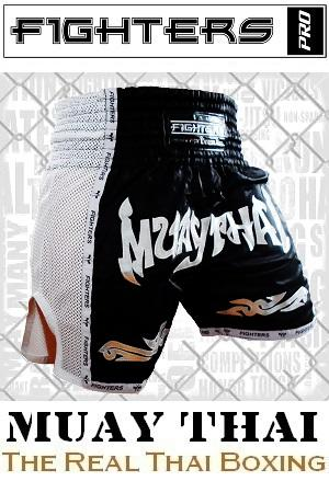 FIGHTERS - Thaibox Shorts / Elite Muay Thai / Schwarz-Weiss / XS